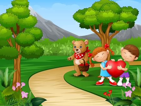 Childrens cartoon celebrate valentine day with bears Illustration