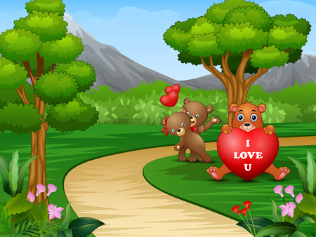 Cartoons of some bears on valentines day Illustration