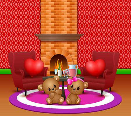 Cute couple teddy bear in the romantic living room