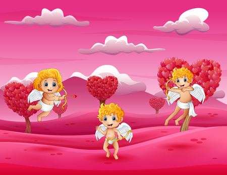 Cartoon little cupid playing in the field pink