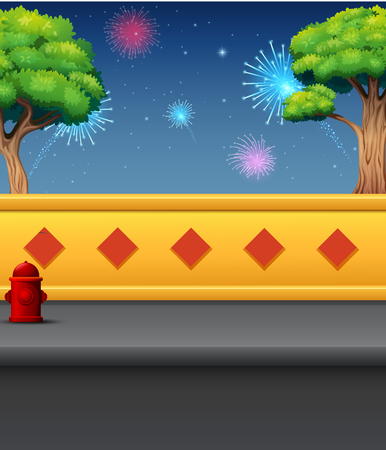 Cartoon of outdoor view with fireworks at night background