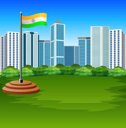 Cartoon Indian flag fluttering with urban background Illustration