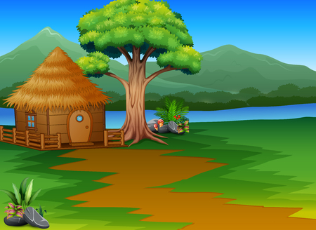 Cartoon woods cabin by the river with mountains landscape background