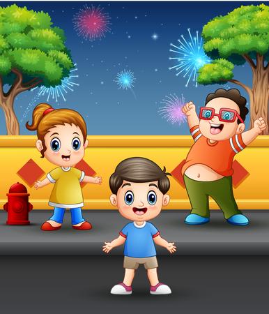 Happy children playing with firework landscape in the sky Ilustração