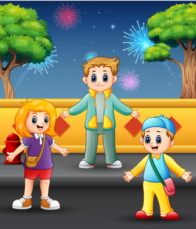 Happy children playing with firework landscape in the sky