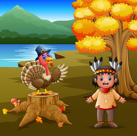 Happy indian boy with turkey bird in the garden 向量圖像
