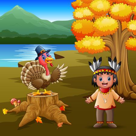 Happy indian boy with turkey bird in the garden Illustration
