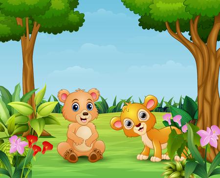 Animal cartoon enjoying in the beautiful nature