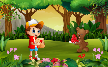 Bear carrying a plate of red heart for boy