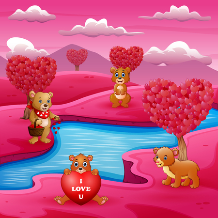 A group of bears on the river bank with pink scene