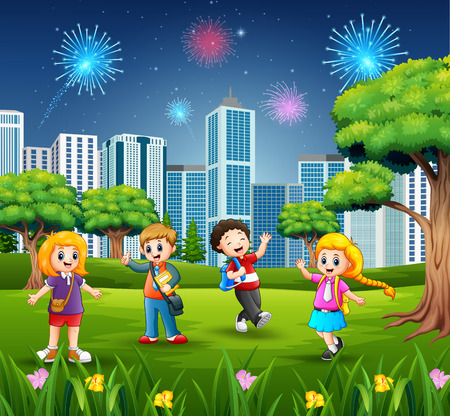 Happy school children on the city park with firework background