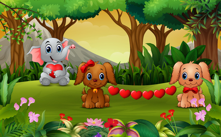 Valentine day with elephant cartoon and the dog