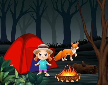 Cartoon a little girl and a fox at a campsite