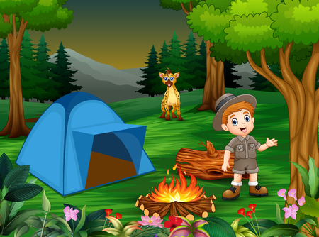 Boys in camping outfit with a hyena in the campsite