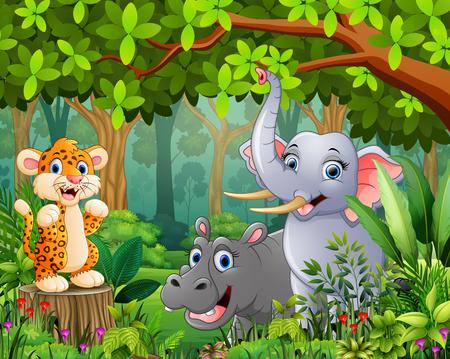 Landscape forest cartoon of green with wild animal Ilustração