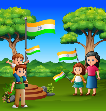 Happy family holding national flag on the nature Vectores