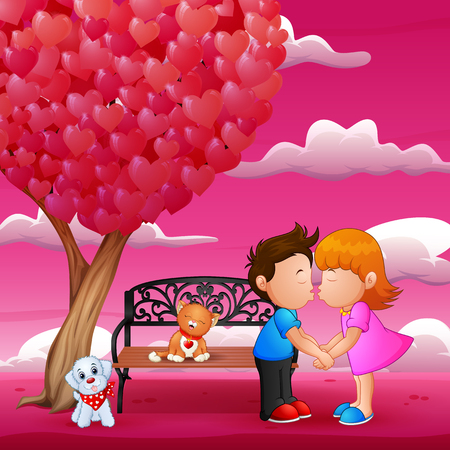Concept of valentine day, two enamored under a love tree in the spring season