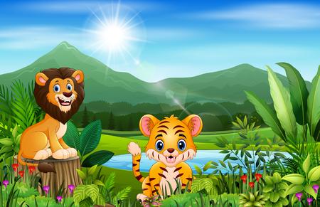 Landscape views of mountains with wild animal Ilustração
