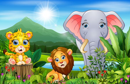 Landscape forest with happy animals cartoon 向量圖像