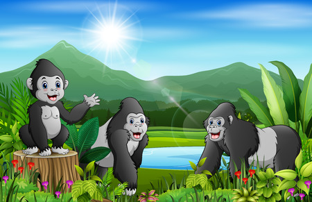 Cartoon of the nature landscape with gorilla group