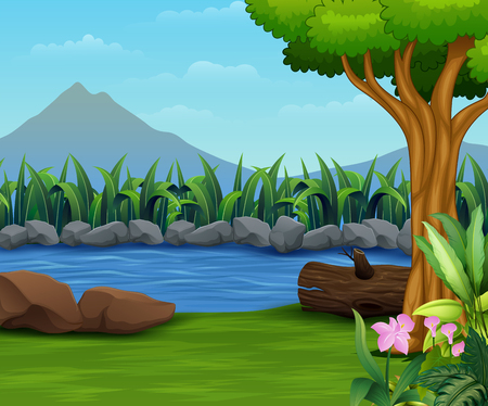 Nature lanscape with a river and mountain backround Ilustração