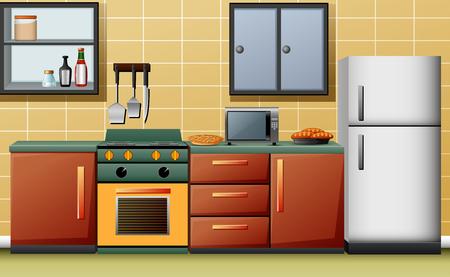 Illustration of modern interior kitchen Illustration
