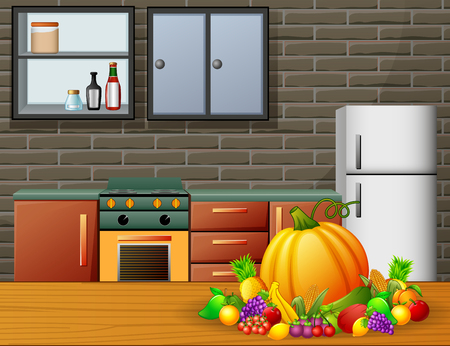 Cartoon kitchen interior with furniture and fruits on a wooden table