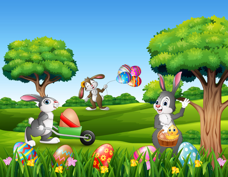 Easter background with cartoon rabbits playing in the nature
