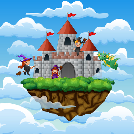 Witches and dragon flew around the castle on the clouds