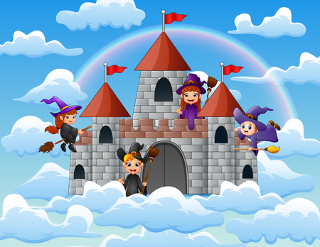 Witches with her magic broom flew around the castle on the clouds