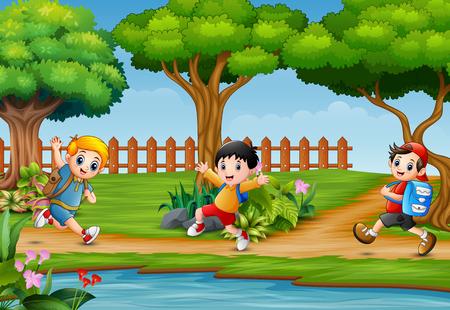 Happy children running around in beautiful nature Illusztráció