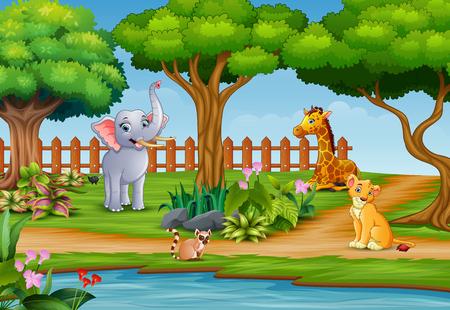 Wild animal group enjoying on the nature