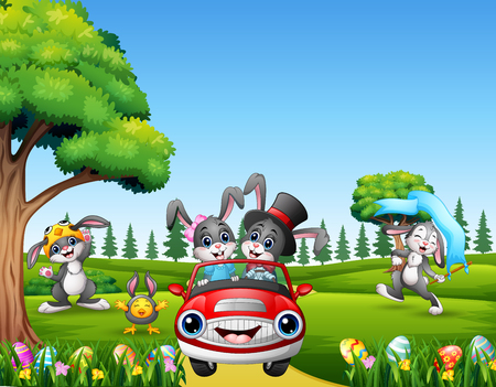 Happy easter rabbit riding a car on the beautiful nature Illustration