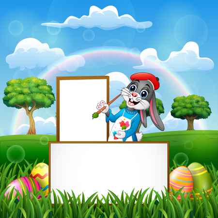 Easter rabbit painting in an empty board