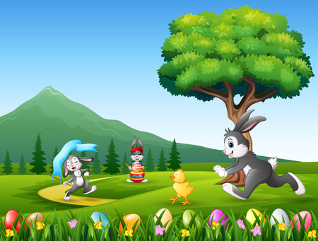 Happy bunnies running on the nature background