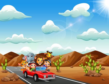 Niños de dibujos animados conduciendo un coche rojo con animales salvajes por el desierto