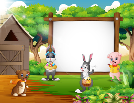 Cartoon Easter backround with farm animal Illustration