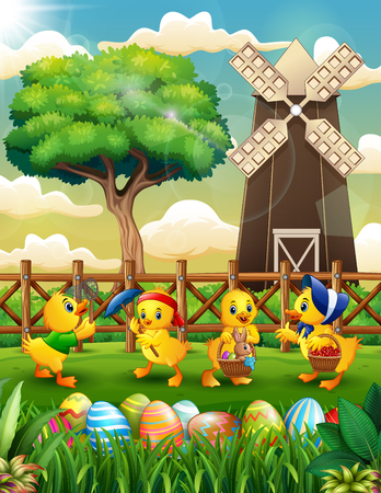 Happy Easter background farm with a bunch cute duckling Stock Illustratie