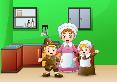 Happy children and mom in the kitchen Иллюстрация