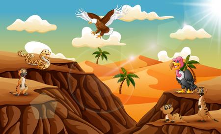 Cartoon animal in the desert background Illustration