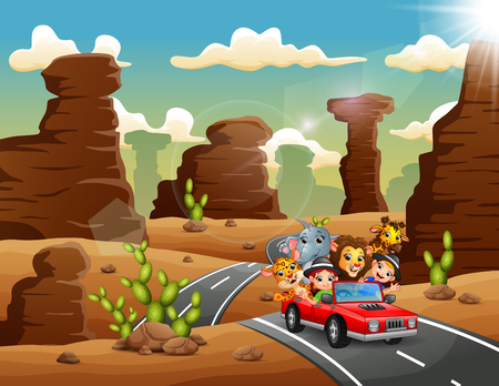 Cartoon kids driving a red car with wild animals through the desert