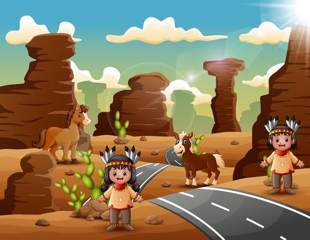 Dibujos animados de pareja india en el desierto Ilustración de vector