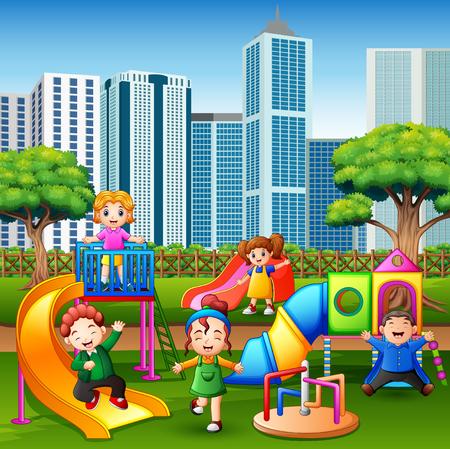 Cartoon kids having fun together on playground Illustration