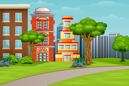 Cartoon illustration city houses facades landscape Illusztráció