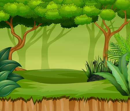 Cartoon forest landscape with plant and trees Illustration