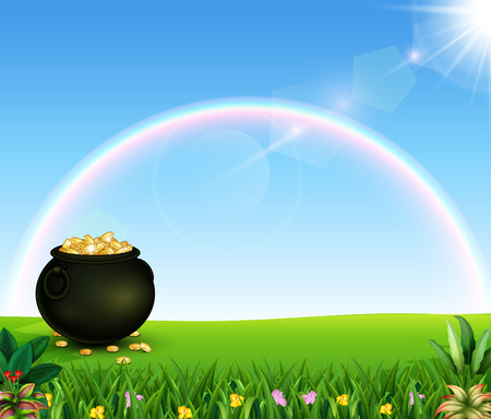 Beautiful rainbow with a pot of coins on the field