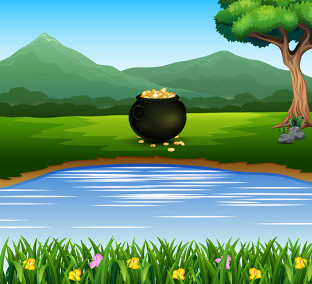 Black pot of coins on the lakeside with mountain background