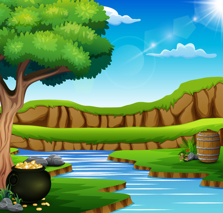 Nature background with black pot of coins Vettoriali