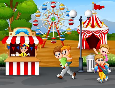 Happy kids having fun in an amusement park Vektoros illusztráció