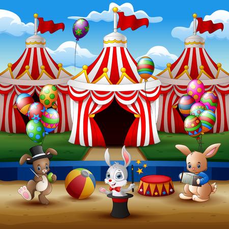 Circus animal show and acrobat performance at the arena 免版税图像 - 118375122